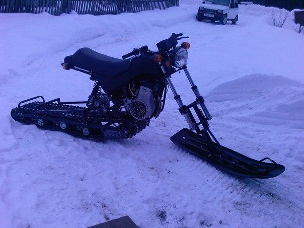 Снегоход с мотоцикла своими руками